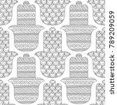 hamsa hand. black and white...   Shutterstock .eps vector #789209059