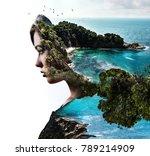 double exposure. portrait of a... | Shutterstock . vector #789214909