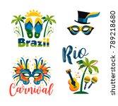 brazilian carnival. big set of...   Shutterstock .eps vector #789218680