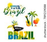 brazilian carnival. big set of...   Shutterstock .eps vector #789219088
