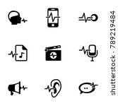 set of black icons isolated on... | Shutterstock .eps vector #789219484
