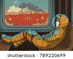 girl on train. vector... | Shutterstock .eps vector #789220699