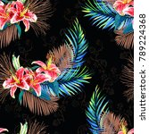 seamless floral pattern with... | Shutterstock . vector #789224368