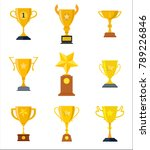 winner trophy gold cups flat... | Shutterstock .eps vector #789226846