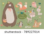 Stock vector set with cute animals 789227014