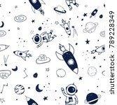 space seamless pattern print... | Shutterstock .eps vector #789228349