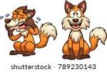 cartoon happy and sad fox.... | Shutterstock .eps vector #789230143