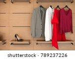 modern wooden wardrobe with... | Shutterstock . vector #789237226