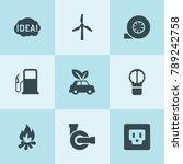 set of 9 energy filled icons... | Shutterstock .eps vector #789242758