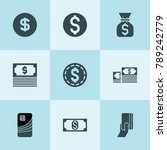 set of 9 cash filled icons such ... | Shutterstock .eps vector #789242779