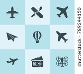 set of 9 aircraft filled icons... | Shutterstock .eps vector #789244150
