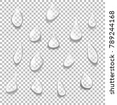 set of transparent drops of... | Shutterstock .eps vector #789244168