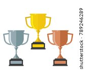 gold  silver and bronze trophy... | Shutterstock .eps vector #789246289