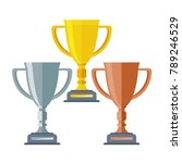 gold  silver and bronze trophy... | Shutterstock .eps vector #789246529