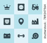 set of 9 power filled icons... | Shutterstock .eps vector #789247564