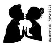 silhouettes of man and woman... | Shutterstock .eps vector #789249328