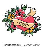 tattoo heart with ribbon ... | Shutterstock .eps vector #789249340