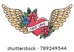 Hand Drawn Tattoo Flying Heart...