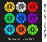 tumblr logo 9 color metallic... | Shutterstock .eps vector #789249808