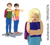 girl student getting bullied in ... | Shutterstock .eps vector #789250276