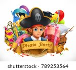 pirate party. children holiday... | Shutterstock .eps vector #789253564