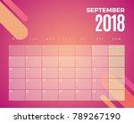 september 2018 calendar. vector ... | Shutterstock .eps vector #789267190
