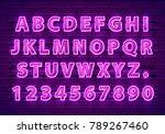font neon purple symbol  light... | Shutterstock .eps vector #789267460