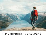 man traveler with red backpack... | Shutterstock . vector #789269143