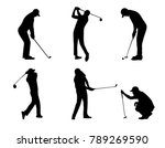 Vector Of Silhouette Golfer In...