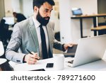 concentrated bearded corporate... | Shutterstock . vector #789271600