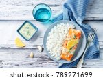 salmon with garlic lemon butter ... | Shutterstock . vector #789271699