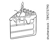 piece of cake with candle... | Shutterstock .eps vector #789273790