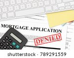 red denied rubber stamp on... | Shutterstock . vector #789291559