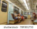 people inside metro train wagon ... | Shutterstock . vector #789301753