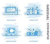 modern flat color line concept... | Shutterstock .eps vector #789305890
