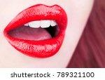 red lips  sexy lip. beautiful... | Shutterstock . vector #789321100