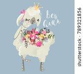 beautiful and cute llama ... | Shutterstock .eps vector #789321856
