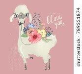 cute baby animal llama  alpaca... | Shutterstock .eps vector #789321874