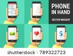 hand using vector mobile phone... | Shutterstock .eps vector #789322723