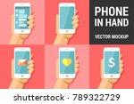 hand using vector mobile phone... | Shutterstock .eps vector #789322729