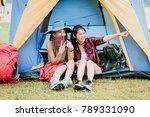 happy asian girl friends laugh... | Shutterstock . vector #789331090