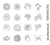 set of machine learning line... | Shutterstock .eps vector #789345193
