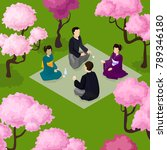 sakura hanami picnic japanese... | Shutterstock .eps vector #789346180