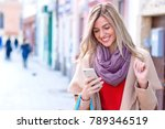 young woman with shopping bag... | Shutterstock . vector #789346519