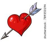 cartoon red heart pierced by... | Shutterstock .eps vector #789353194