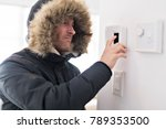 man with warm clothing feeling... | Shutterstock . vector #789353500