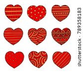 vector hearts set for wedding... | Shutterstock .eps vector #789358183