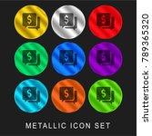 speech bubble 9 color metallic... | Shutterstock .eps vector #789365320