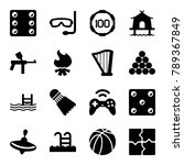 leisure icons. set of 16... | Shutterstock .eps vector #789367849