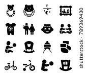 newborn icons. set of 16... | Shutterstock .eps vector #789369430